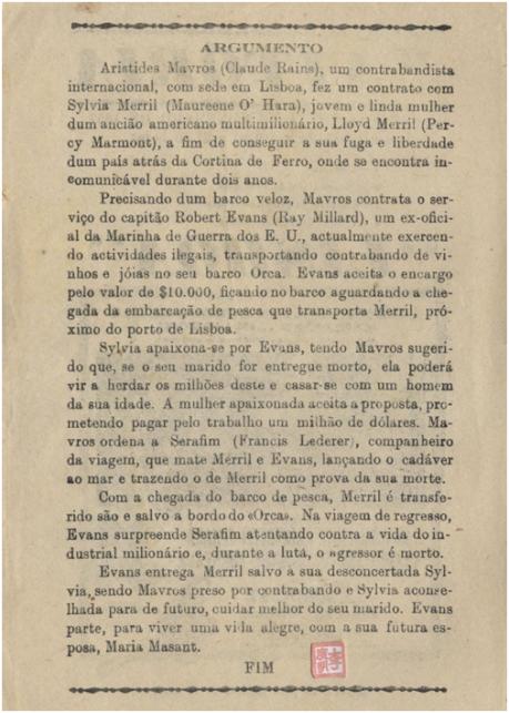 Teatro Vitória - LISBON Folheto verso