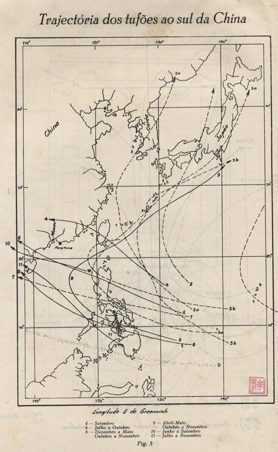 Os Tufões do Mar da China MAPA Sul da China