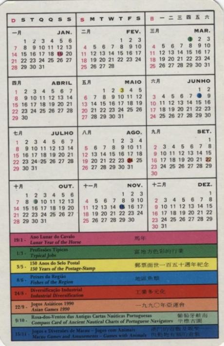 Calendário CTT Plano de emissões 1990 CAVALO verso