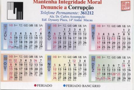 Calendário 2000 CCAC verso