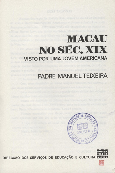 Pe. TEIXEIRA - Macau século XIX 1.ª Página