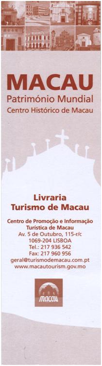 Marcador Livro Livraria Turismo Macau