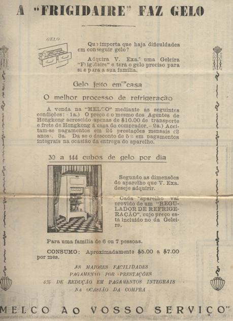 Anúncio MELCO, 1929 Geleira
