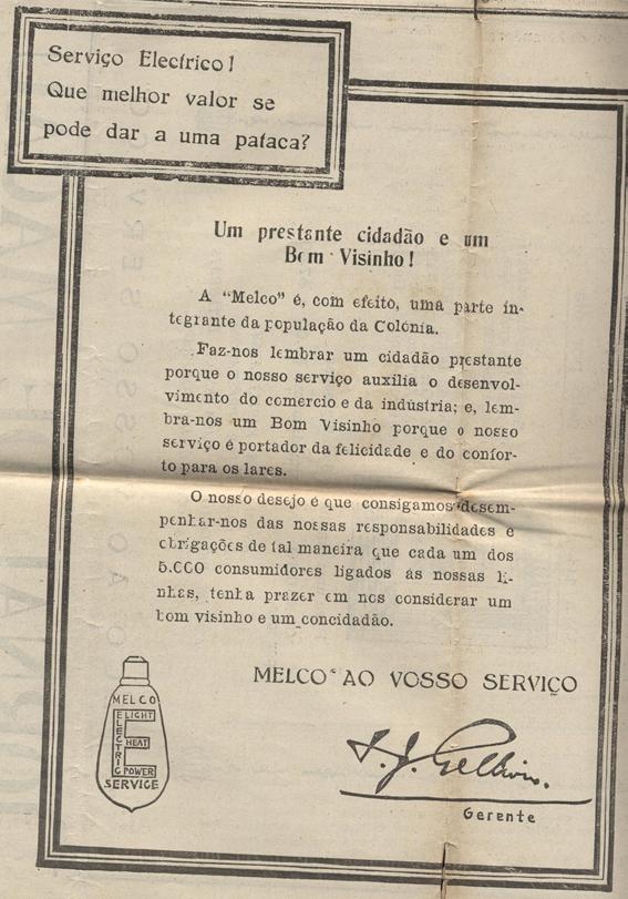 Anúncio MELCO AO VOSSO SERVIÇO 1929
