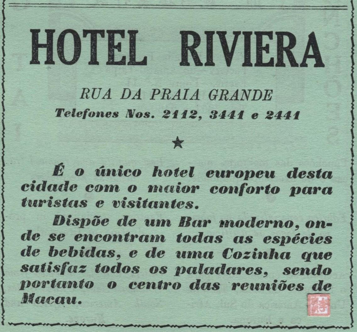 ANÚNCIO Hotel Riviera 1957