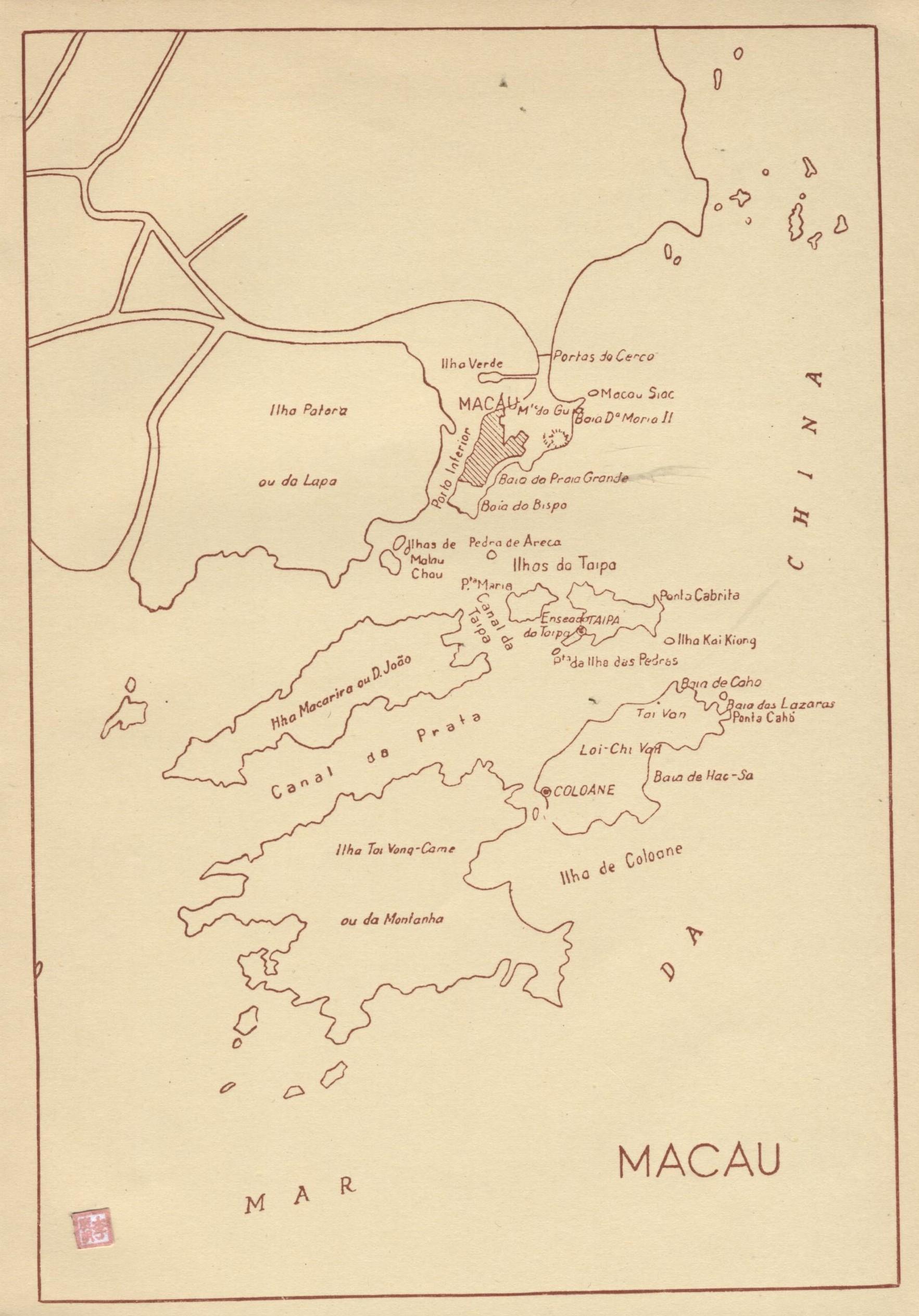 Roteiro do Ultramar MAPA Macau 1958