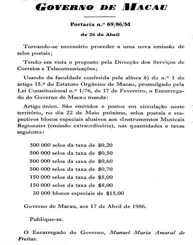 BO 69-1986 Emissão Inst Musicais