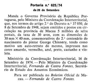 25NOV1974 Bicentenário Chinnery PORTARIA