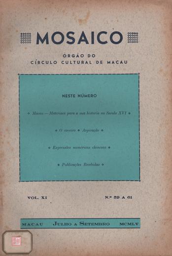 MOSAICO VOL XI n.º 59 a 61 CAPA