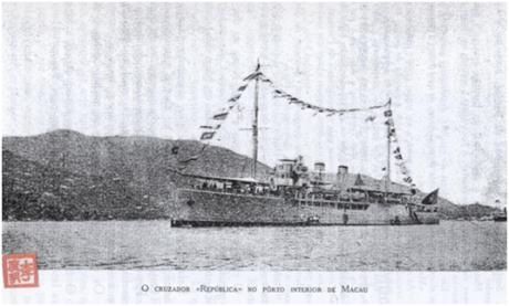 O Cruzador República na China - Em Macau