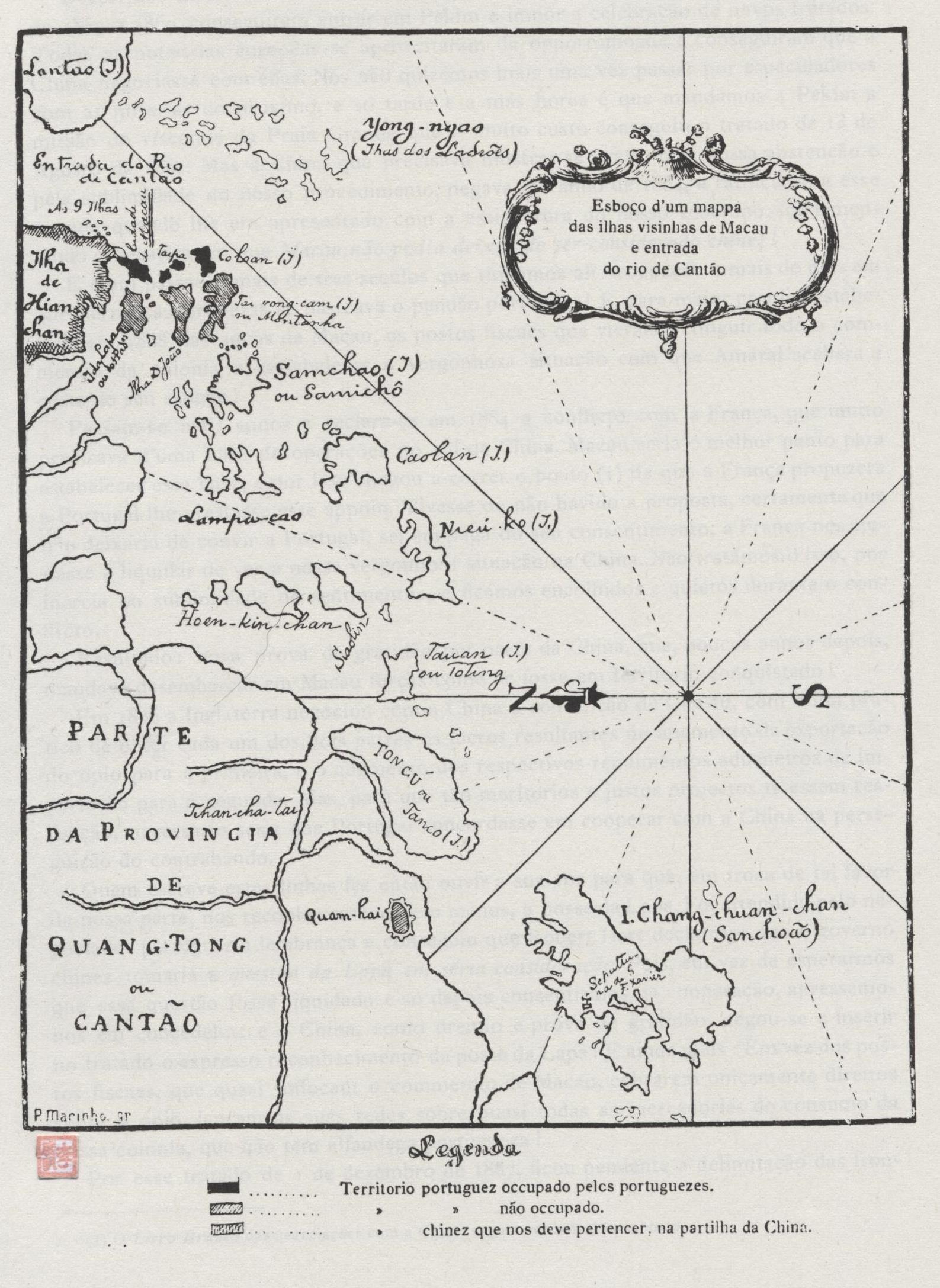 TA-SSI-YANG-KUO Mapa de Macau e Ilhas Adjacentes 1900