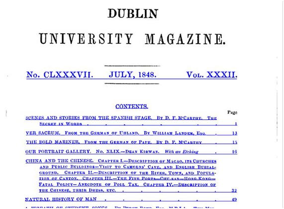 Dublin University Magazine July 1848 VOL XXXII SUMÁRIO