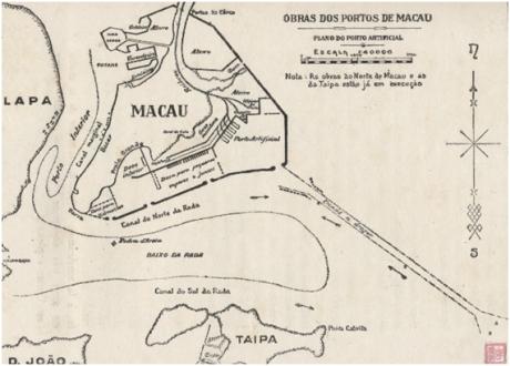 MAPA Obras dos Portos de Macau 1921 Tellurologie et Climatologie