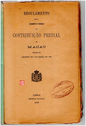 Regulamento Contribuição Predial 1893 1.ª p