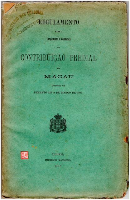 Regulamento Contribuição Predial 1893 CAPA