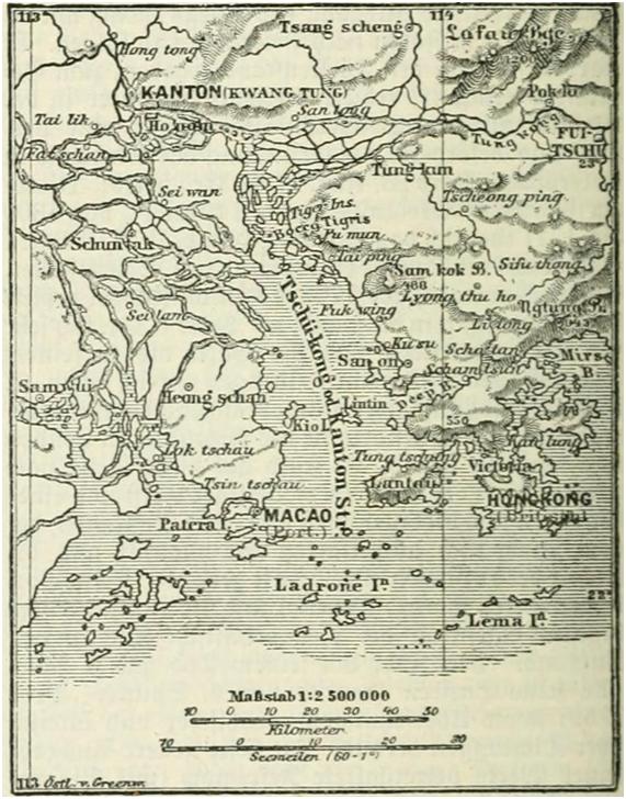 MAPA alemão sec XIX - Ilha de Lintin