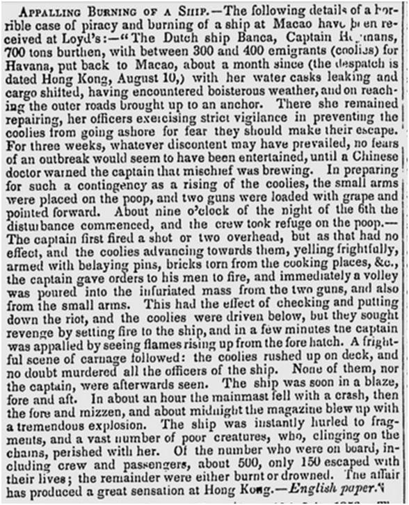 3-08-1856 Incêndio do BANCA recorte de jornal