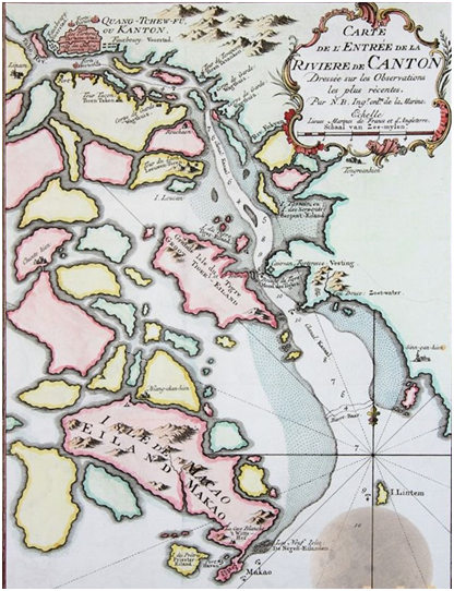 Carte de lentrée de la Reviére de Canton 1750