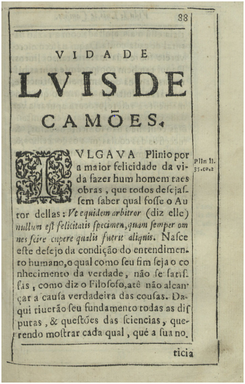 Discursos Varios Politicos p. 88 Vida de Luís de Camões