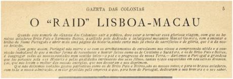GAZETA COLÓNIAS ! 19-06-1924 RAID LISBOA-MACAU
