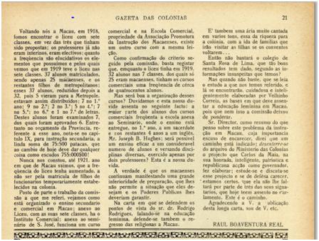 GAZETA COLÓNIAS I-15 15-12-1924 - O PROBLEMA DA INSTRUÇÃO IV