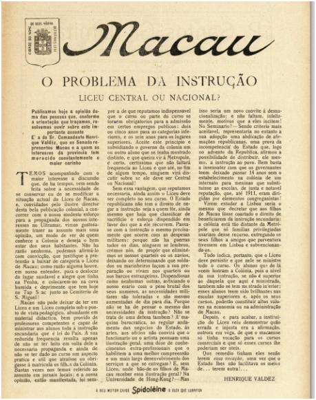 GAZETA COLÓNIAS I-19 12-02-1925 - Liceu Central ou Nacional