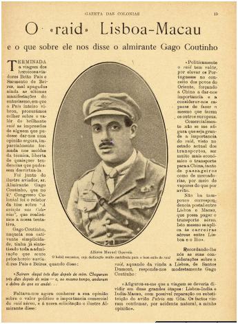 GAZETA COLÓNIAS I-2 10-07-1924 Raid Lisboa-Macau I