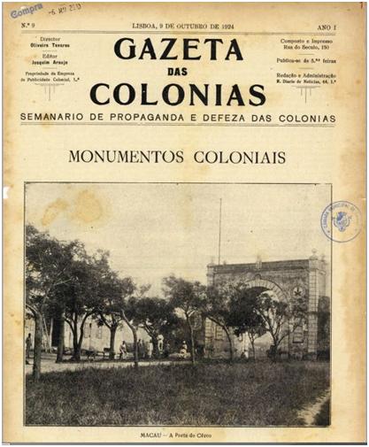 GAZETA COLÓNIAS I-9 9-10-1924 CAPA Porta do Cerco