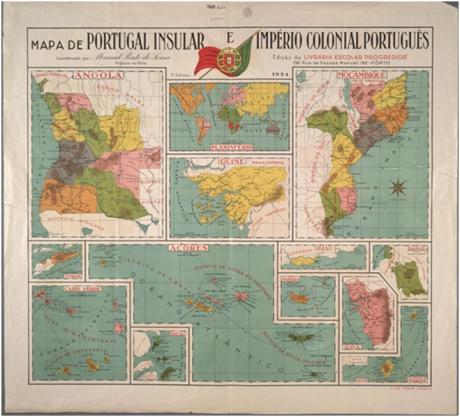 Mapa de Portugal Insular e Imperio Colonial Português - 1934