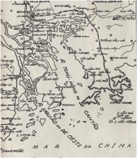 MAPA do Sul da Província de Guangdong 1950 (ANUÁRIO 50)
