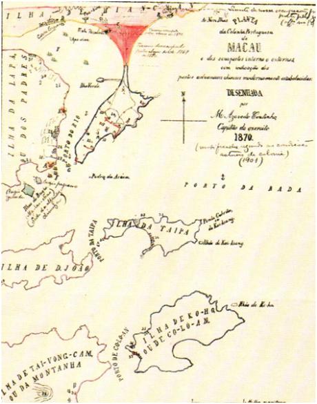 MAPA n.º 13 -MACAU A CIDADE e o PORTO 1870