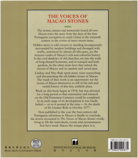 The Voices of Macao Stones CONTRACAPA