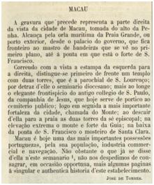 ARCHIVO PITTORESCO VII-44 1864 Artigo MACAU Porto Exterior