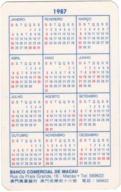 CALENDÁRIO 1987 - BCM verso