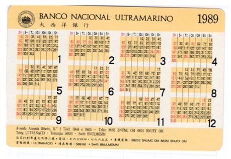 CALENDÁRIO 1989 - BNU verso
