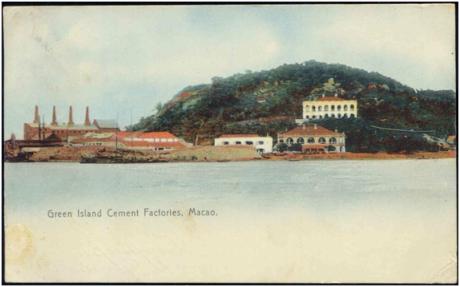 POSTAL de 1906 - Fábrica de Cimento na Ilha Verde