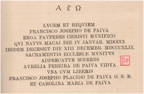 Seminário S. José -Lápide de Francisco José Paiva