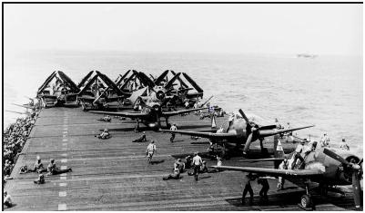 F6F Hellcats no porta-aviões Yorktown