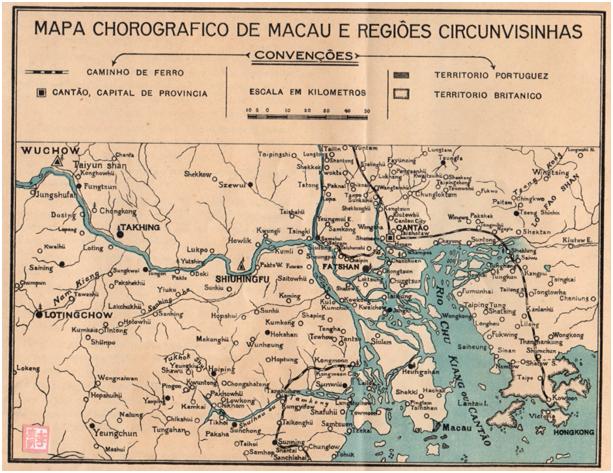 MACAU E SEU PORTO ARTIFICIAL - Mapa Chorográfico