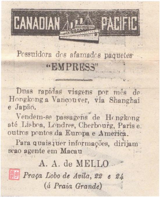 ANÚNCIO 1929 - CANADIAN PACIFIC