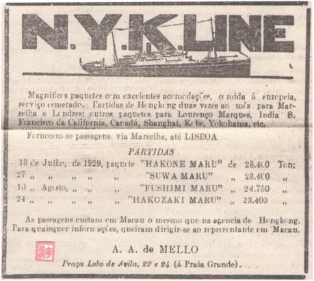 ANÚNCIO -1929 - N. Y. K. Line