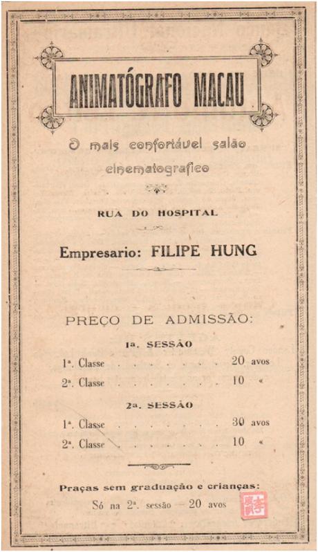 ANÚNCIO de 1922 ANIMATÓGRAFO MACAU