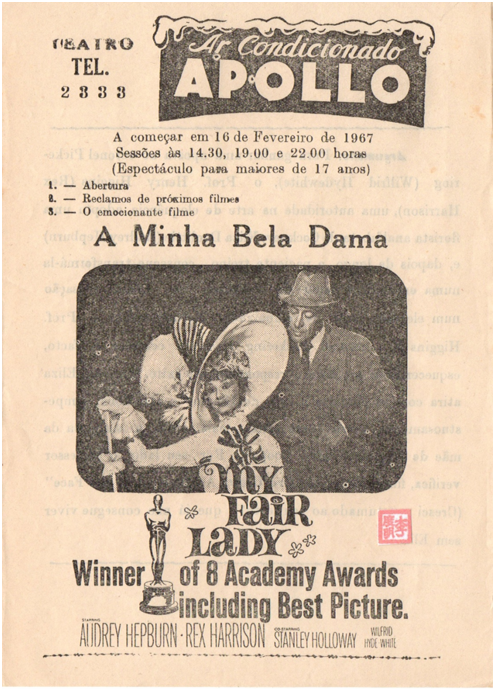FOLHETO DE CINEMA APOLLO 16FEV1967 My Fair Lady