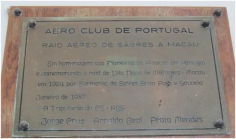 Leal Senado - Placa Comemorativa Raid Aéreo (II)