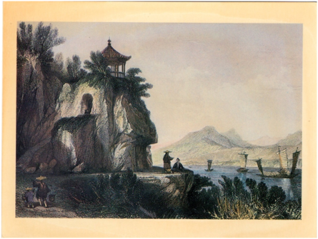 POSTAL A GRUTA DE CAMÕES 1843 Thomas Allom