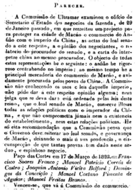 PARECER Commissão do Ultramar 1823