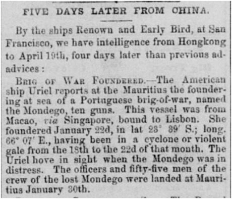 Sacramento Daily, 1850 - Brigue Mondego