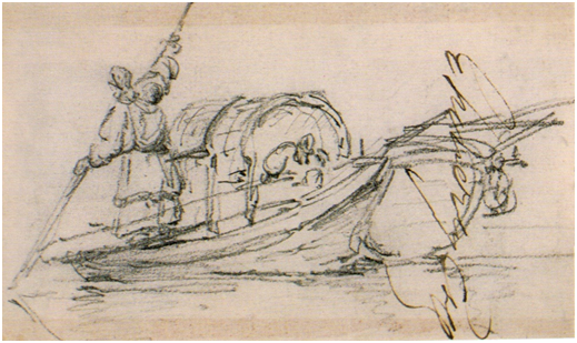 CHINNERY Tancareira num barco 1830