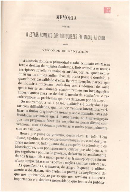 Memória do estabelecimento dos Portuguezes em Macau