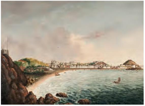 Vista da Praia Grande 1825 Artista Chinês desconhecido
